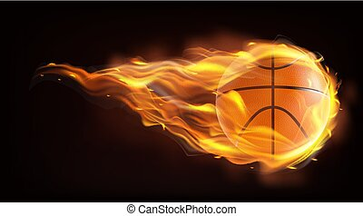 Basketball ball flying in flames realistic vector
