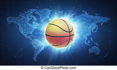 Basketball Ball flying on world map background.