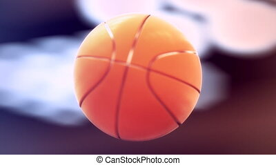 basketball ball going through the hoop at a sports arena -...