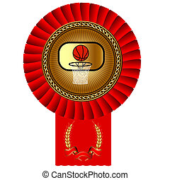 basketball ball gold medal red tape