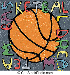 Basketball ball hand drawn poster design. Vector