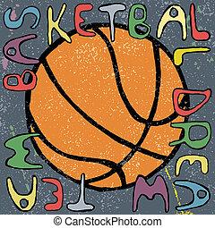 Basketball ball hand drawn poster design. Vector