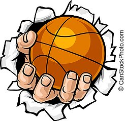 Basketball Ball Hand Tearing Background
