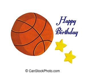 Basketball Ball happy birthday Illustration stock photo -...