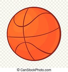 Basketball ball icon in cartoon style