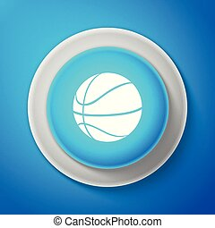 Basketball ball icon isolated on blue background. Sport symbol. Circle blue button. Vector Illustration