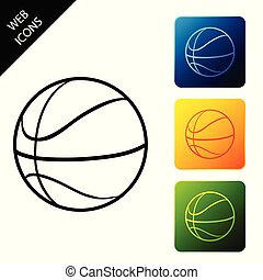 Basketball ball icon isolated. Sport symbol. Set icons colorful square buttons. Vector Illustration