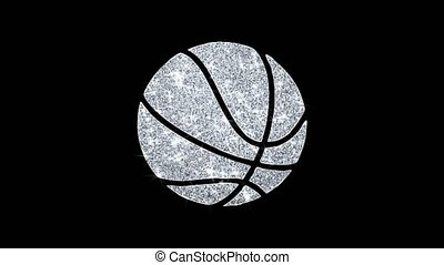 Basketball Ball Icon Shining Glitter Loop Blinking Particles .
