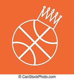 Basketball Ball Icon with Crown