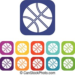 Basketball ball icons set