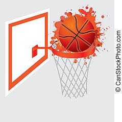 basketball ball in basket