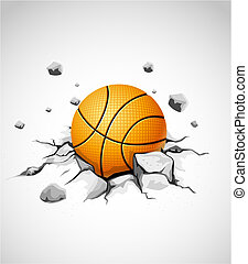 basketball ball in cracked stone