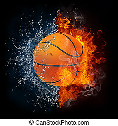 Basketball Ball in Fire and Water Isolated on the Black...