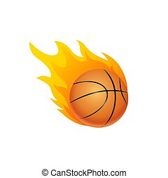 Basketball ball in fire flame. Basketball fireball cartoon icon. Fast ball logo in motion isolated