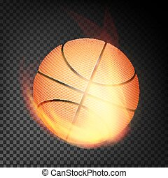 Basketball Ball In Fire Vector Realistic. Burning Basketball Ball. Transparent Background