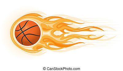 Basketball ball in flame isolated on the white