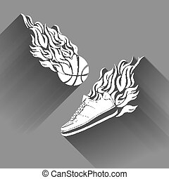 Basketball ball in flame sneakers vector icon color