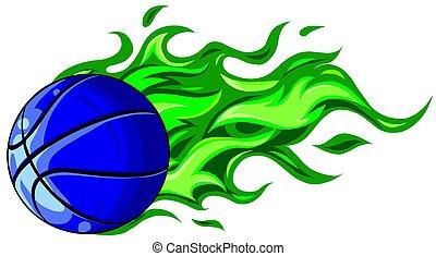 Basketball ball in flame vector illustration design