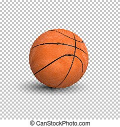 Basketball ball isolated on transparent background. Vector realistic illustration.