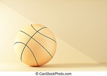 basketball ball lit by a ray of light
