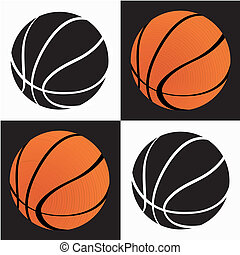 basketball ball on black on white squares