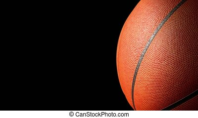 Basketball ball on black screen with alpha channel. Basketball 3D animation of spinning ball 3D rendering 4K