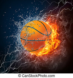 Basketball Ball on Fire and Water. 2D Graphics. Computer Design.