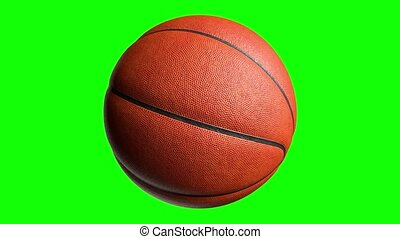 Basketball ball on green screen with alpha channel. Basketball 3D animation of spinning ball 3D rendering 4K