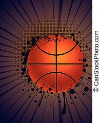 Basketball Ball on Rays Background