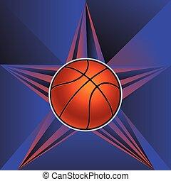 Basketball Ball on Rays Background