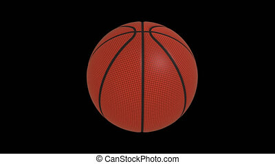 Basketball ball rotates loop on a transparent, 4444 prores...