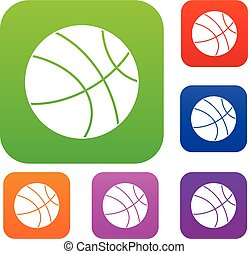 Basketball ball set color collection