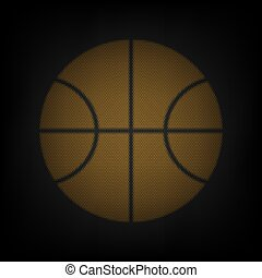 Basketball ball sign illustration. Icon as grid of small orange light bulb in darkness. Illustration.