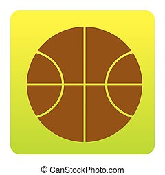Basketball ball sign illustration. Vector. Brown icon at green-yellow gradient square with rounded corners on white background. Isolated.
