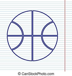 Basketball ball sign illustration. Vector. Navy line icon on notebook paper as background with red line for field.