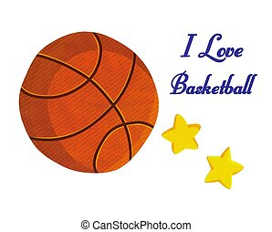 Basketball Ball Stars I love Basketball Illustration stock...