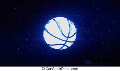 Basketball Ball Symbol Digital Pixel Noise Error Animation.