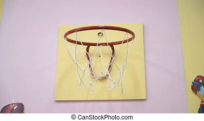 Basketball ball throwing in ring