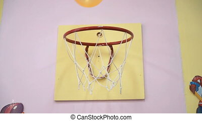 Basketball ball throwing in ring - Close-up of unidentified...