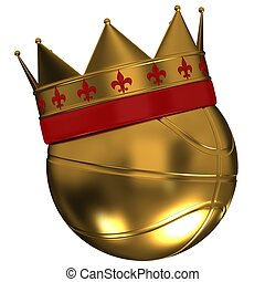 Basketball ball with a crown on a white background
