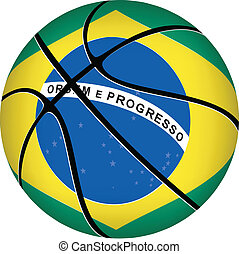 Basketball ball with brazilian flag on white.