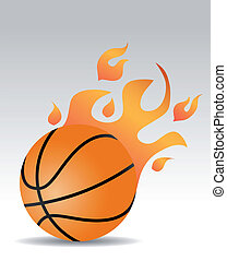 basketball ball with fire