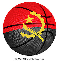 Basketball ball with flag of Angola