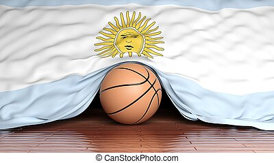 Basketball ball with flag of Argentina on parquet floor