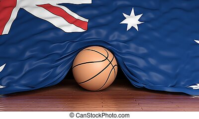 Basketball ball with flag of Australia on parquet floor