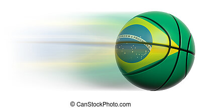 Basketball ball with flag of Brazil in motion isolated
