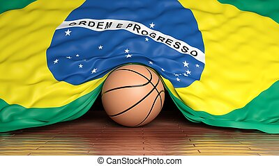 Basketball ball with flag of Brazil on parquet floor