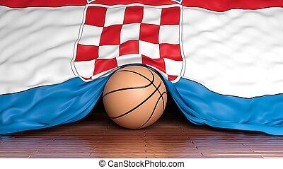 Basketball ball with flag of Croatia on parquet floor