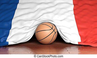 Basketball ball with flag of France on parquet floor