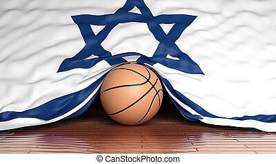 Basketball ball with flag of Israel on parquet floor